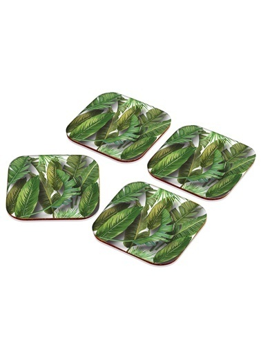 The Mia Bardak Altlığı Banana Palm Yeşil - 4Lü Set Renkli